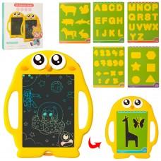LCD планшет K7000 для рисования, сова, 27см, карточки трафарет 6шт, 1цв, бат, в кор