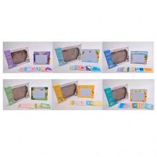 Досточка 923-4-5-6-7-8B для рисования, цветная, карточки-трафарет16шт, ручка, 6видов
