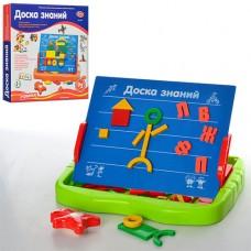 Досточка магнитная 0709 Доска знаний, магнитная, в комплект входит: двухсторонняя доска 29, 5-23, 5см складывается в пенал-чемодан размером 35, 5-32-4см, буквы русского алфавита, геометрические фигуры, маркер, мелки, губка, 36, 5-33-4, 5см