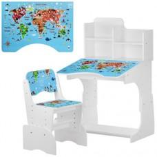 Парта B 2071-45-1 регулируемая высота 4положения, со стульчиком 3полож выс, столеш70-47см, География, б