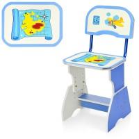 Парта HB-202 -01-7 регулируемая, со стульчиком, голубая