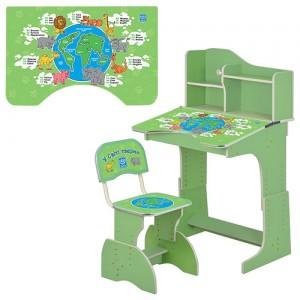 Парта HB 2071M03-02 регулируемая высота, со стульчиком, зеленая 71-71-102см, Животн