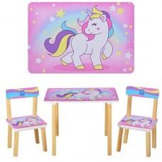 Столик 501-44-3 со стульчиком, Единорги роз