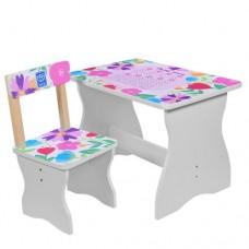 Столик 504-41 столеш60-40смвыс.до стол44см, стульчик д28-ш28-в53, 5смвысот.до сид.27см, цветы