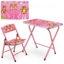 Столик A19-BEAR складной, столешница 60-40см, 1стульчик мишка