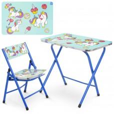 Столик A19-BLUE UNI складной, столешница 60-40см, 1стульчик единорог