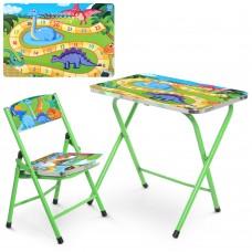 Столик A19-DINO2 складной, столешница 60-40см, 1стульчик динозавры