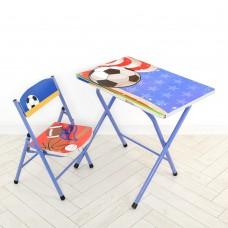 Столик A19-FB складной, столешница 60-40см, 1стульчик футбол