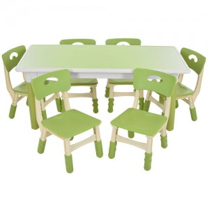 Столик TABLE3-5 стульчики 6шт, регулир.высот, столеш120-60см, высот.до столеш.min51max61см, зелен