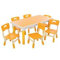 Столик TABLE3-6 стульчики 6шт, регулир.высот, столеш120-60см, высот.до столеш.min51max61см, желт
