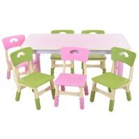 Столик TABLE3-8 стульчики 6шт, регулир.высот, столеш120-60см, высот.до столеш.min51max61см, розов