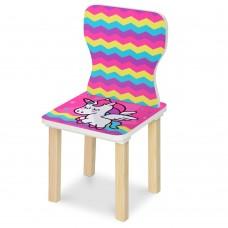 Стульчик 406-64 ш28-г28-в58см, высота до сиденья 29см, сиденье ш28-г24см, розовый единорог
