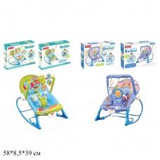 Детский шезлонг-качалка Bambi 68123-68129, голубой