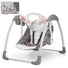 Детские качели-шезлонг Bambi 6504, серо-розовый
