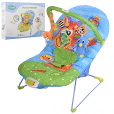 Детский шезлонг-качалка Bambi 60661A, сине-зеленый