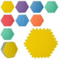 Коврик-мат M 5736 EVA, напол.покрытие, шестиугол, 9дет 9мм, 32-32см, 7текстур