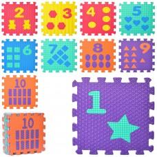 Коврик Мозаика M 0375-1 EVA, 10 деталей толщина10мм, 31, 5-31, 5см, массаж, пазлы, 6текстурке