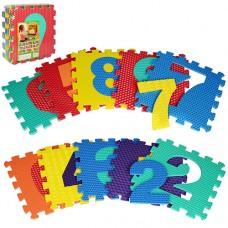 Коврик Мозаика M 2608 EVA, цифры, 10дет 10мм, 31, 5-31, 5см, массажн, 6текстур, пазл