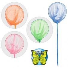 Сачок для бабочек M 0064 U/R длина 120 см, диаметр 26 см, рукоятка бамбук с цветной пленкой, 5 цветов