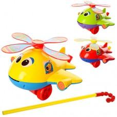 Каталка 0368 на палке41см, вертолет, звук, вращ.винт, высов.язык, 3цвета