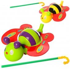 Каталка 0376 бабочка, на палке40см, 21см, двиг.крыльями, звук, 2цветаке