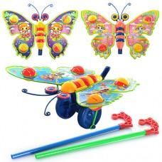 Каталка 305 на палке, бабочка - погремушка, машет крыльями, 3 вида