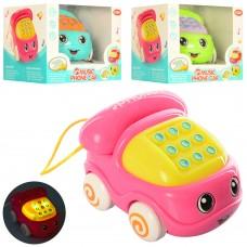 Каталка 592B телефон, 11см, на шнуре, муз, зв, св, 3цв, бат таб