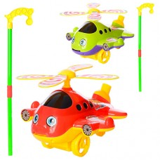 Каталка 9904 на палке41, 5см, вертолет, звук, вращ.винт, показыв.язык, 2цвке