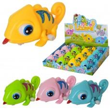 Заводная игрушка 5801B хамелеон11см, подвиж.глаза, 12шт 4цвета