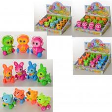 Заводная игрушка 6191C-6303F-6408 животное 9см, 3вида, 12шт 3цвета