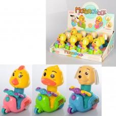 Заводная игрушка 6662-3 12см, 12шт 3вида-цыпленок/утка/собачка
