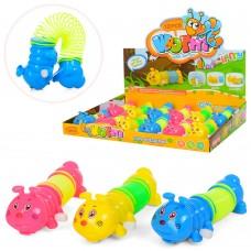 Заводная игрушка LY2018C гусеница, 12см, с пружинкой, 12шт 3цвета