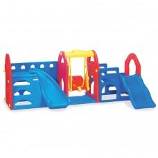 Горка c качелями M 5403-3-4 пластмассовая, прямая, баскетбольное кольцо, красно-сине-желтый 2560*1560*1010
