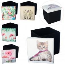 Корзина для игрушек M 5757 пуф, 31-31-31см, 6видов кошка, собачки, фламинго, в кул