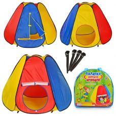 Палатка M 0506 пирамида, размер 144-244-104 см, 6 граней, 1 вход с занавеской-сеткой, 1 вход на липучке, 1 окно без сетки, в сумке