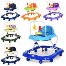 Ходунки 628-H муз, свет, колеса8шт, 2стопора, на бат, 6цв синий, голуб, зелен, хаки, фиолет, беж