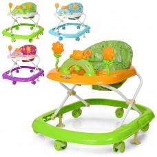 Ходунки M 3684 муз, свет, колеса6шт, стопор2шт, 3положения, на батарейках, 4цвета оранж, салат, син, фиолет