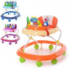 Ходунки M 3963 муз, колеса7шт, стопор2шт, на батарейках, 3цв голубой, оранжевый, розовый