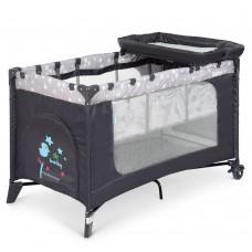 Кроватка-манеж El Camino Safe Plus ME 1054 Stars Gray, серый