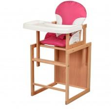 Детский деревянный стульчик-трансформер для кормления Bambi CH-L2 Pink, розовый