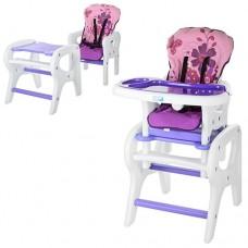Детский стульчик-трансформер для кормления Bambi M 0816-17, сиреневый
