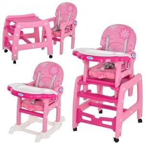 Детский стульчик-трансформер для кормления Bambi M 1563-8-2, малиновый
