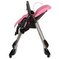Детский стульчик для кормления Bambi M 3216-8, черно-розовый