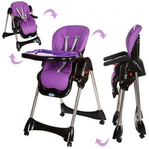 Детский стульчик для кормления Bambi M 3216-9, черно-фиолетовый