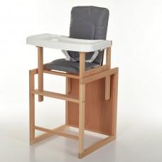 Детский деревянный стульчик-трансформер для кормления Bambi R6, серый
