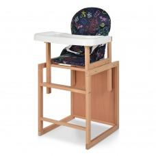 Детский деревянный стульчик-трансформер для кормления Bambi RH-1, черный