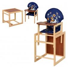Детский деревянный стульчик-трансформер для кормления Vivast М V-010-24-6 Собака, синий