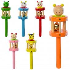 Деревянная игрушка Бубен MD 2051 17, 5см, 6видов животныеке