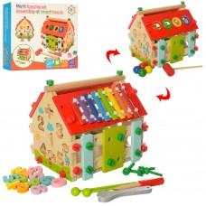 Деревянная игрушка Центр развивающий MD 2087 домик, стучал, сортер, констр, ксилофон