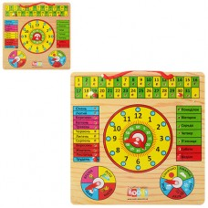 Деревянная игрушка Часы MD 0004 UR досточка - календарь и часы, размер 30-30 см, 2 вида, русский и украинский язык, в пленке